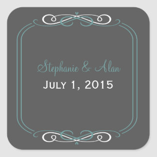 Chalkboard Teal Wedding Stickers