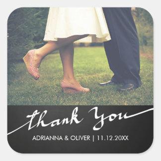 Chalkboard Thank You Typography Wedding Photo Square Sticker
