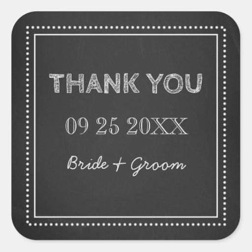 Chalkboard Thank You Wedding Favor Tags Sticker