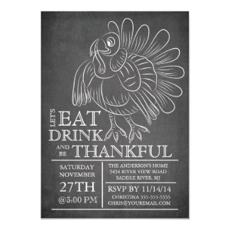 "Chalkboard Thanksgiving Day Dinner Invitation 5"" X 7"" Invitation Card"