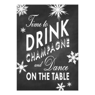 Chalkboard Time to Drink Champagne Holiday Invite