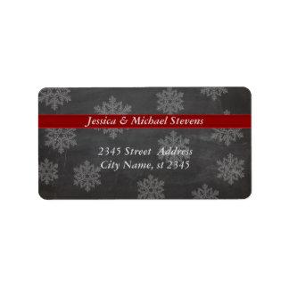 Chalkboard trendy holiday Christmas snowflake Address Label