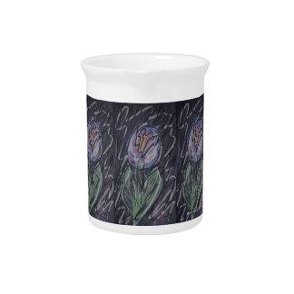 Chalkboard tulip doodle beverage pitcher
