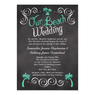 Chalkboard Turquoise Palm Tree Beach Wedding Card