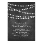 Chalkboard Twinkle Lights New Year's Invitation