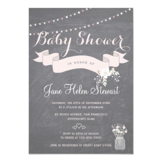 Chalkboard twinkle lights ribbon baby shower card
