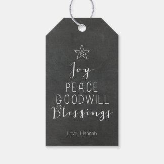 Chalkboard Typographic Christmas Tree Gift Tag