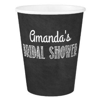 Chalkboard Typography Bridal Shower Party Cups