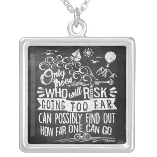 Chalkboard Typography Courage Inspirational Quote Silver Plated Necklace