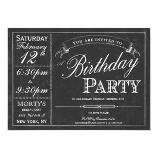 Chalkboard Typography Party Invitation