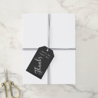 Chalkboard Typography Thanks Personalised Gift Tags