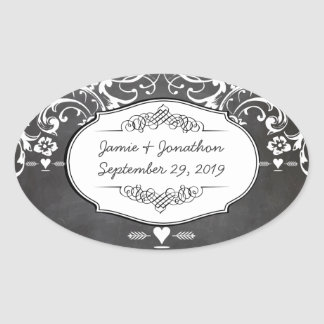 Chalkboard Typography Weddings Oval Sticker