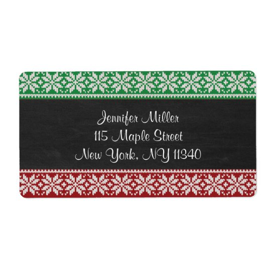 Chalkboard Ugly Sweater Holiday Address Shipping Label
