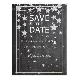 Chalkboard Under the Stars Vintage Save the Date Postcard
