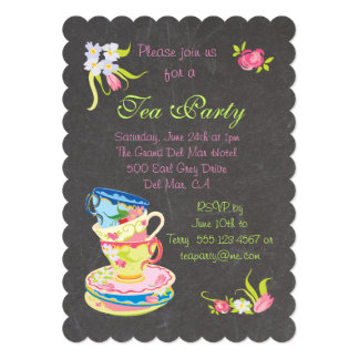 Chalkboard Victorian Stacked Tea Cups Tea Party 13 Cm X 18 Cm Invitation Card
