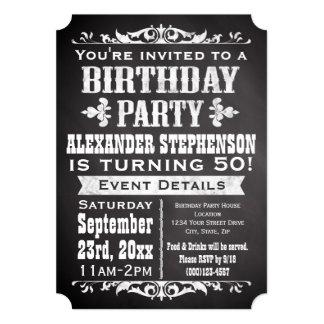 Chalkboard Vintage Blackboard Theme Birthday Party 13 Cm X 18 Cm Invitation Card