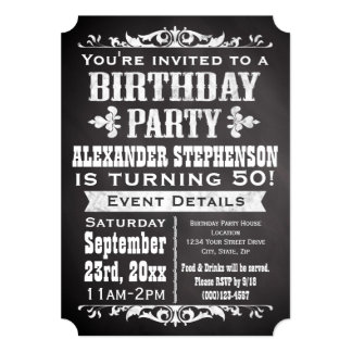 Chalkboard Vintage Blackboard Theme Birthday Party Card
