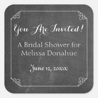 Chalkboard Vintage Flourish Frame, Bridal Shower Square Sticker