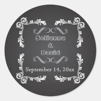 Chalkboard & vintage frame wedding Save the Date Round Sticker