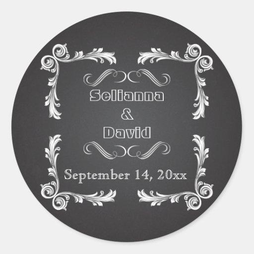 Chalkboard & vintage frame wedding Save the Date Sticker