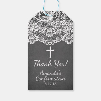 Chalkboard Vintage Lace Confirmation Gift Tag