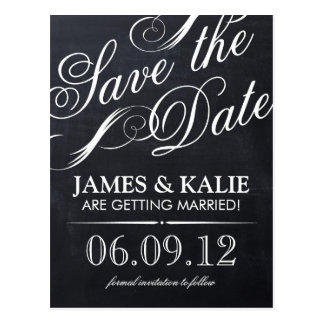 Chalkboard Vintage Script Save the Date Postcard