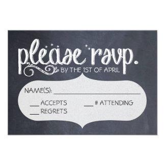 Chalkboard Vintage Wedding RSVP Postcard Invitation