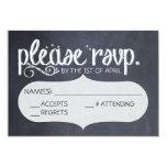 Chalkboard Vintage Wedding RSVP Postcard 9 Cm X 13 Cm Invitation Card