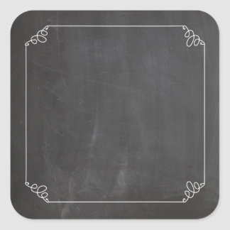 Chalkboard Vintage White Flourish Frame Customize Square Sticker