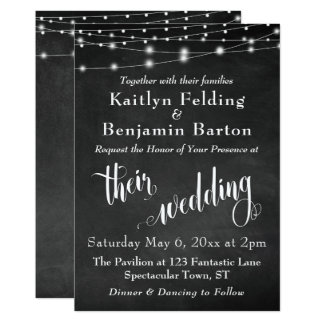 Chalkboard w/ String Lights, Typography Wedding Card