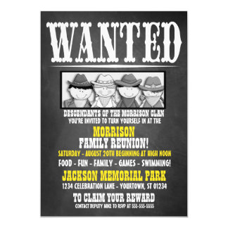 Chalkboard Wanted Poster Family Reunion Invitation