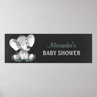 Chalkboard Watercolor Elephant Baby Shower Poster