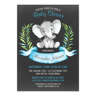 Chalkboard Watercolor Elephant Boy Baby Shower Card