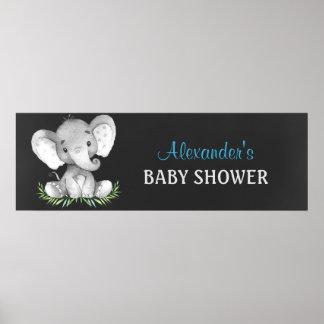 Chalkboard Watercolor Elephant Boy Baby Shower Poster