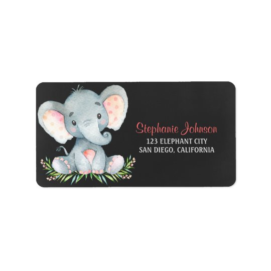 Chalkboard Watercolor Elephant Girl Label