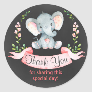 Chalkboard Watercolor Elephant Girl Thank You Classic Round Sticker