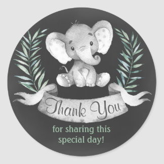 Chalkboard Watercolor Elephant Thank You Classic Round Sticker