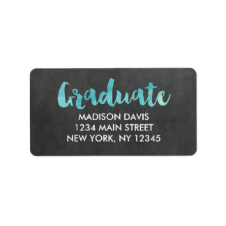 Chalkboard Watercolor Graduation Address Labels