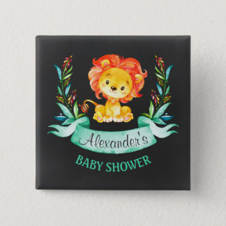 Chalkboard Watercolor Lion Baby Shower 15 Cm Square Badge