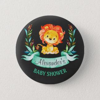 Chalkboard Watercolor Lion Baby Shower 6 Cm Round Badge