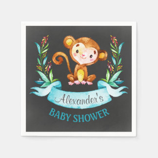 Chalkboard Watercolor Monkey Boy Baby Shower Disposable Napkin