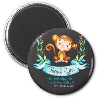 Chalkboard Watercolor Monkey Boy Thank You 6 Cm Round Magnet