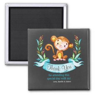Chalkboard Watercolor Monkey Boy Thank You Square Magnet