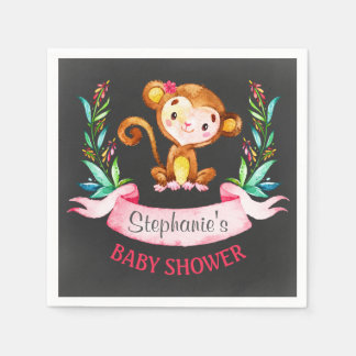 Chalkboard Watercolor Monkey Girl Baby Shower Disposable Napkin