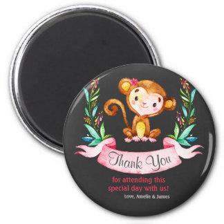 Chalkboard Watercolor Monkey Girl Thank You 6 Cm Round Magnet