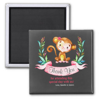 Chalkboard Watercolor Monkey Girl Thank You Square Magnet
