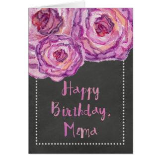 Chalkboard Watercolored Roses Mema Birthday Card