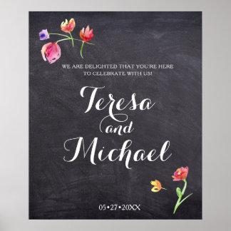Chalkboard Watercolour Flower Paint, Wedding Sign Poster