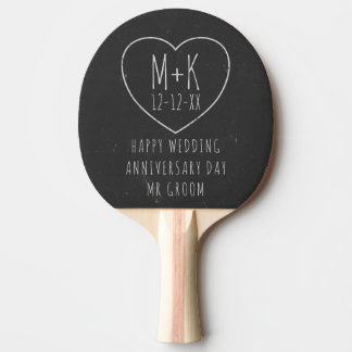 Chalkboard Wedding Anniversary Ping Pong Paddle