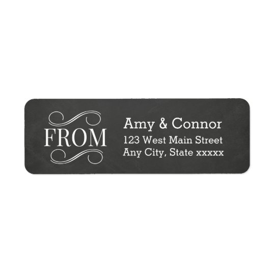 Chalkboard Wedding Black Return Address Labels